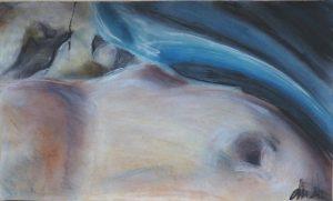 Bauch blau; Pastellkreide auf Papier21.5x36;2012