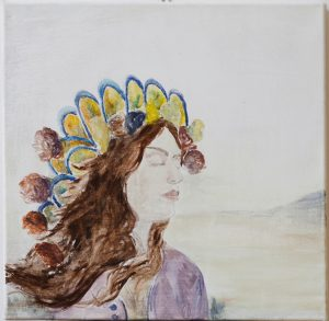 Be sure to wear some flowers in your hair - landscape, eggtempera on canvas, 40 x 40 cm