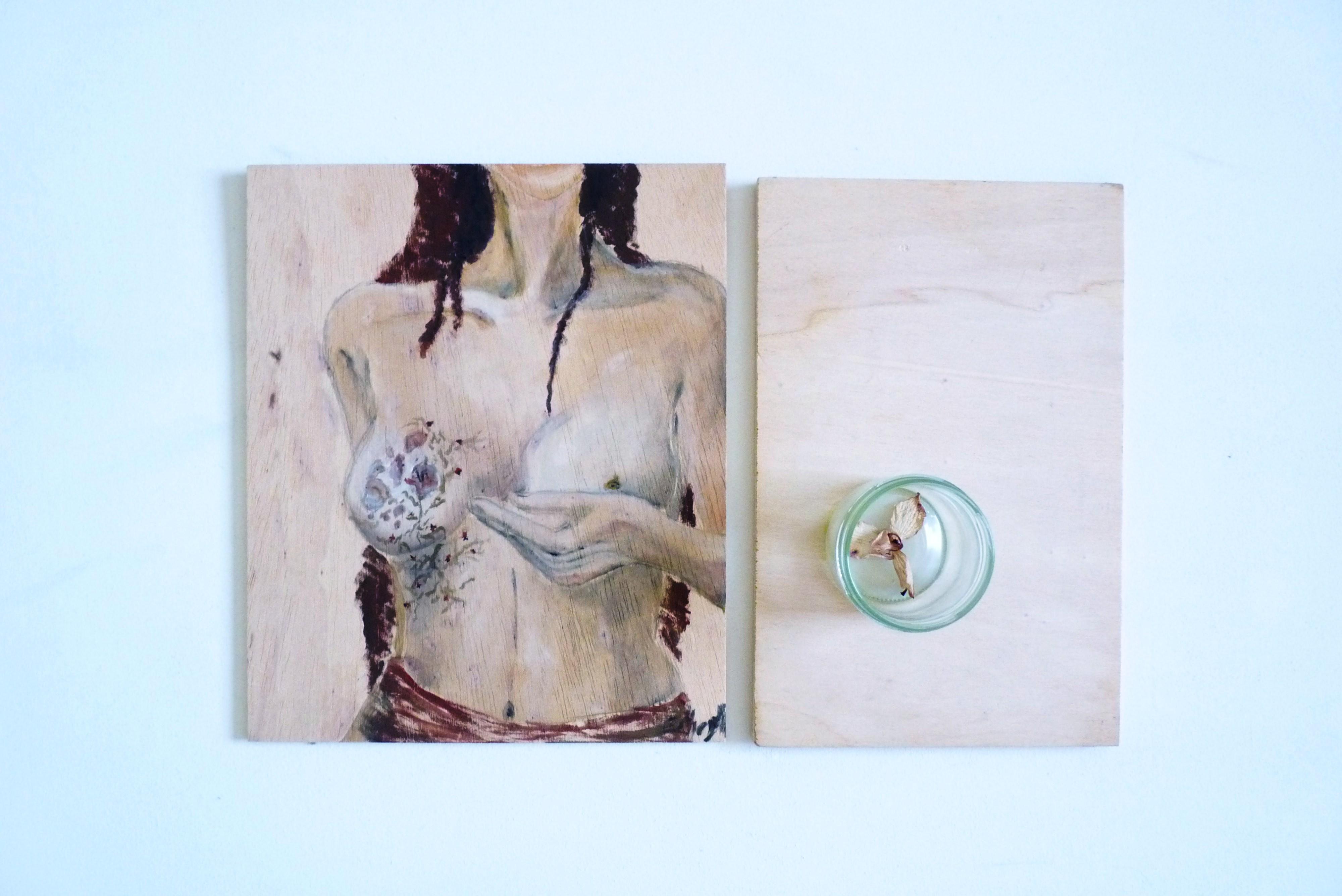 Clivia und Blume im Glas, Gouache on wooden panel, 25.8 x 21.4 cm