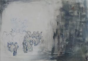 Blüte, print and eggtempera on canvas, 70 x 100 cm
