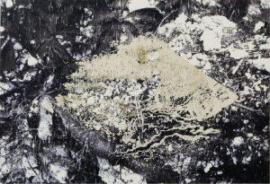 Ebenenverschmelzung, ways of color, plantcolor, screenprint and transferprint on wooden panel, Din. A5