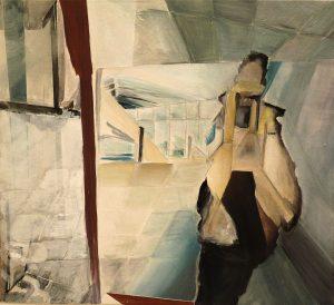 Fenstergangportrait, eggtempera on canvas, 50 x 55 cm